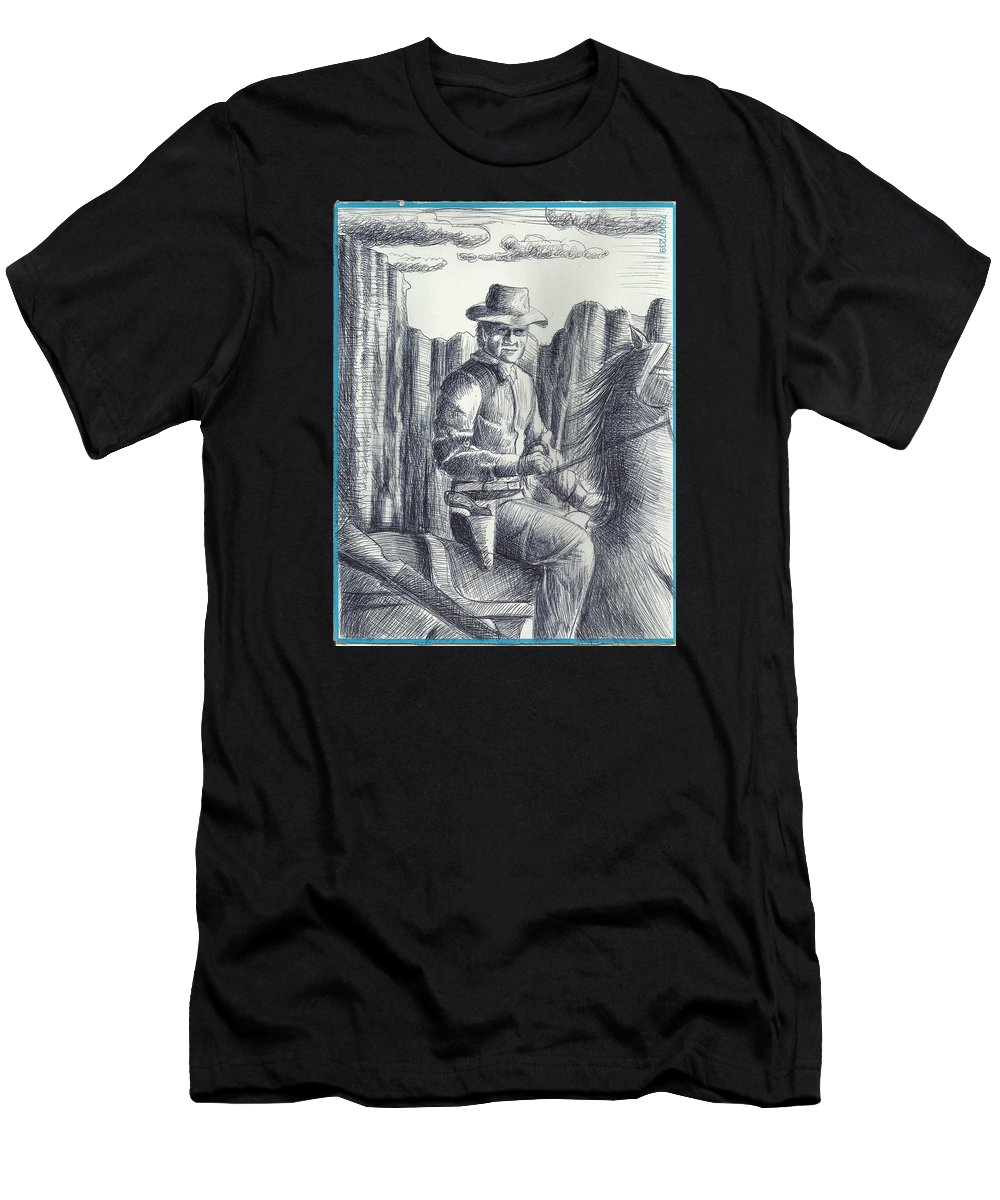 With Memories Of Western Movies Men's T-Shirt (Athletic Fit) featuring the drawing Cowboy by Ahmed Alrassam