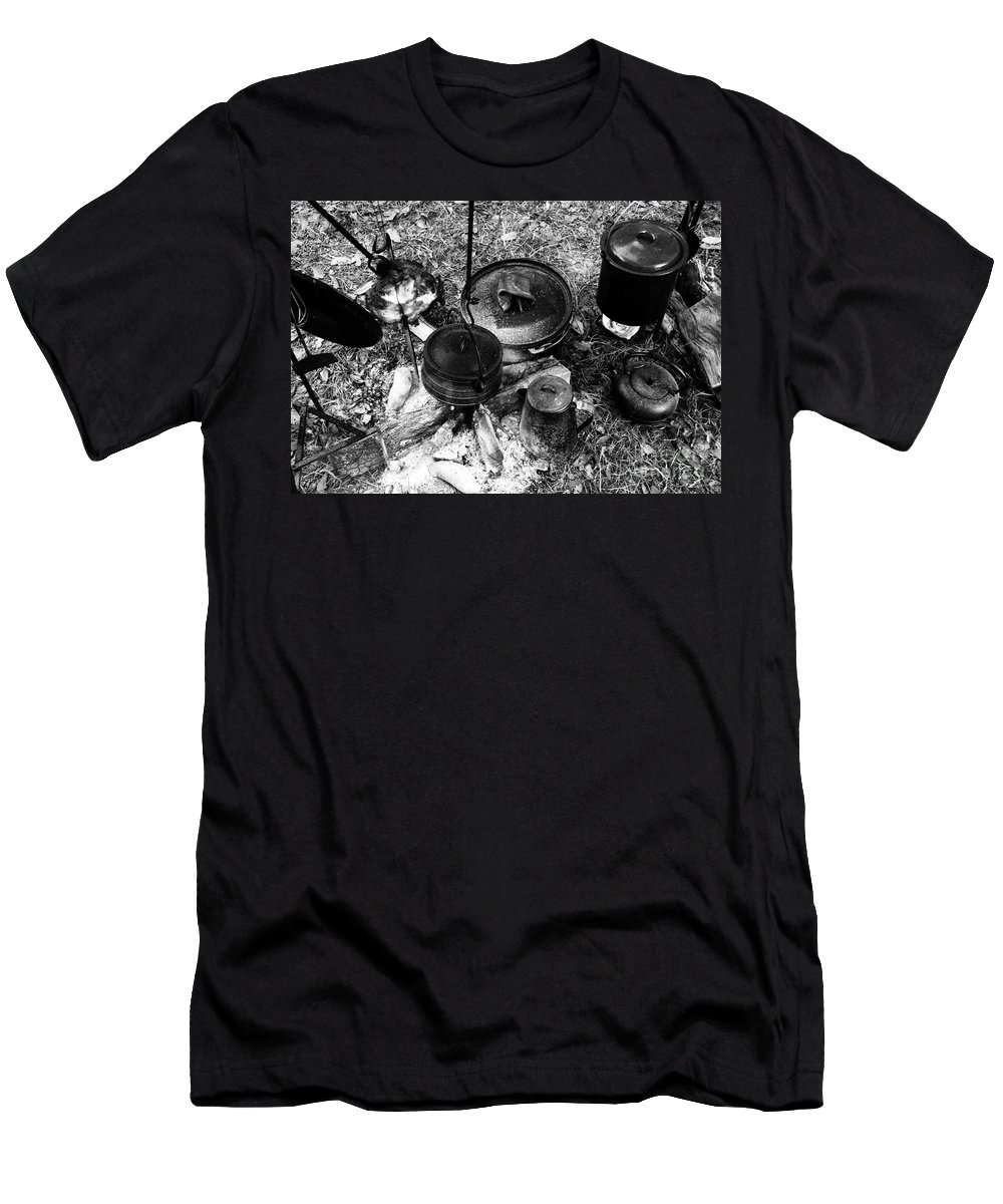 Cooking Men's T-Shirt (Athletic Fit) featuring the photograph Cowboy Cooking by David Lee Thompson
