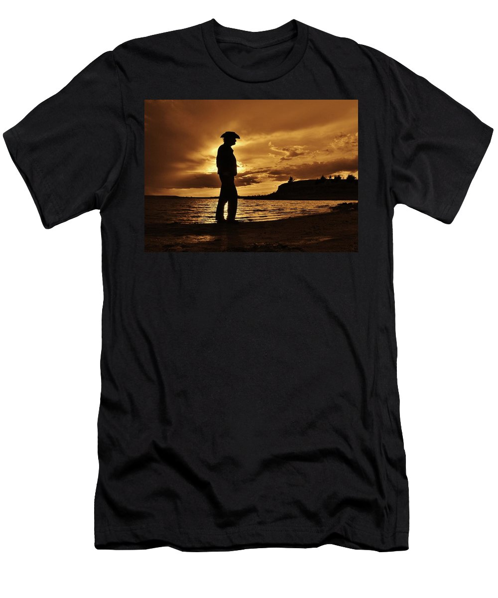 The Sunset Kid Men's T-Shirt (Athletic Fit) featuring the photograph Cowboy Silhouette At Wilson Lake In Kansas by Greg Rud