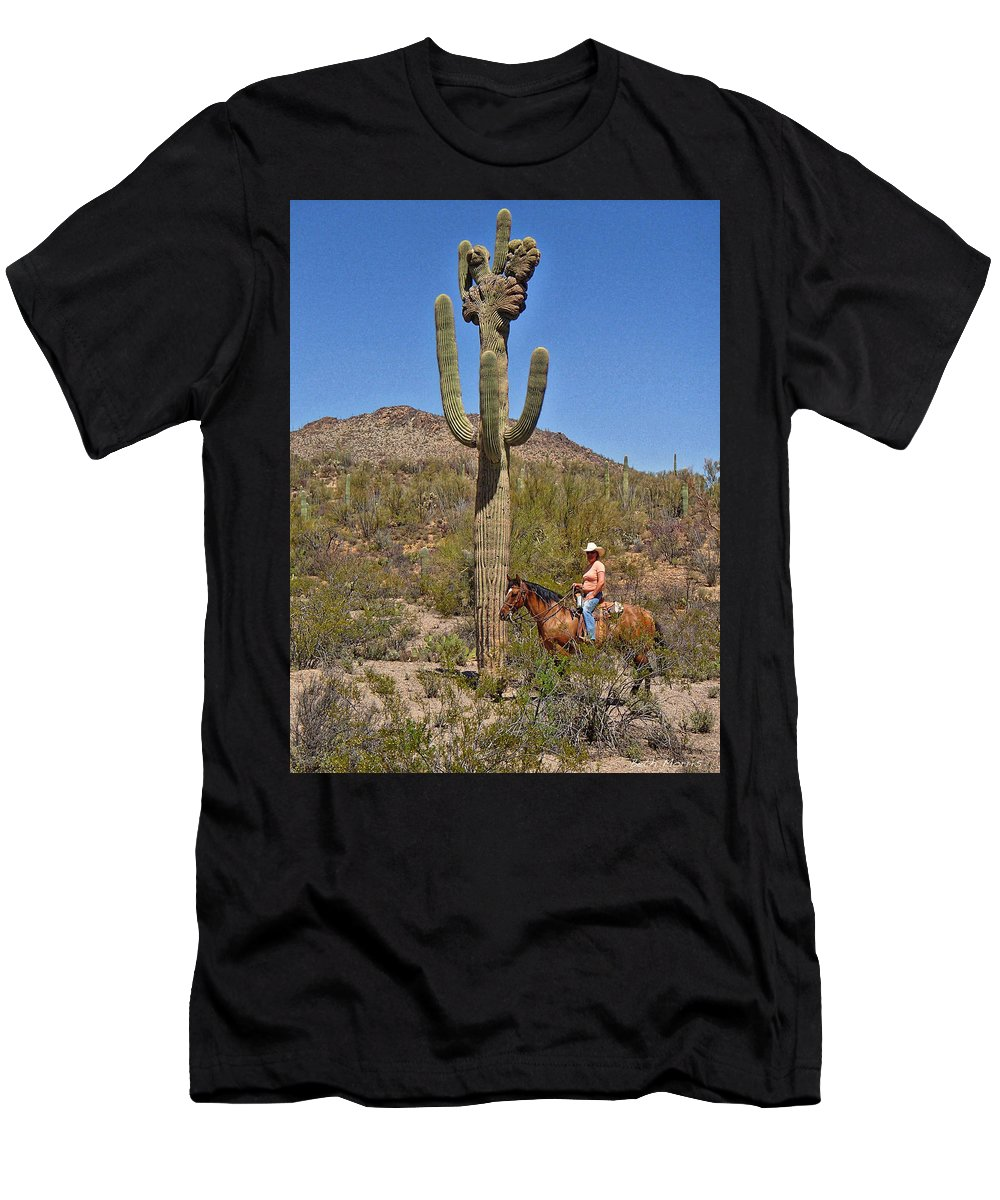 Crested Saguaro Men's T-Shirt (Athletic Fit) featuring the photograph Cowgirl And The Crested Saguaro by Beth Morris