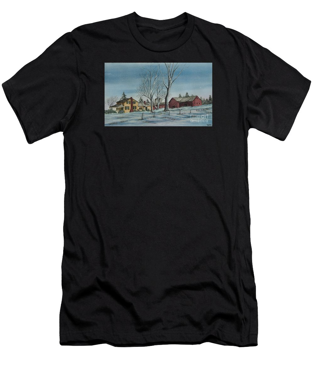 Farmhouse Men's T-Shirt (Athletic Fit) featuring the painting Cozy Winter Night by Charlotte Blanchard