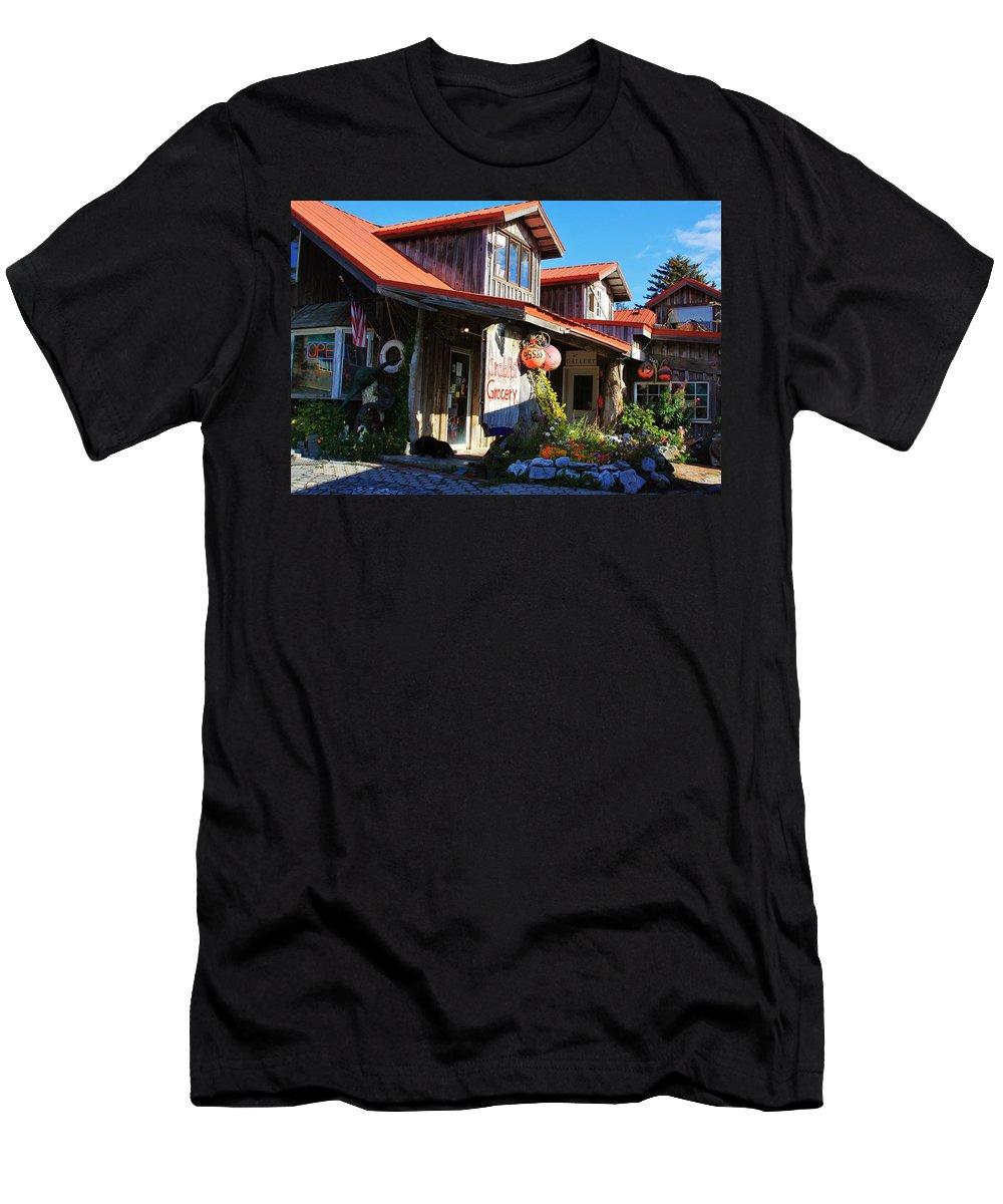 Seldovia Alaska Men's T-Shirt (Athletic Fit) featuring the photograph Crabpot Grocery by Lori Mahaffey