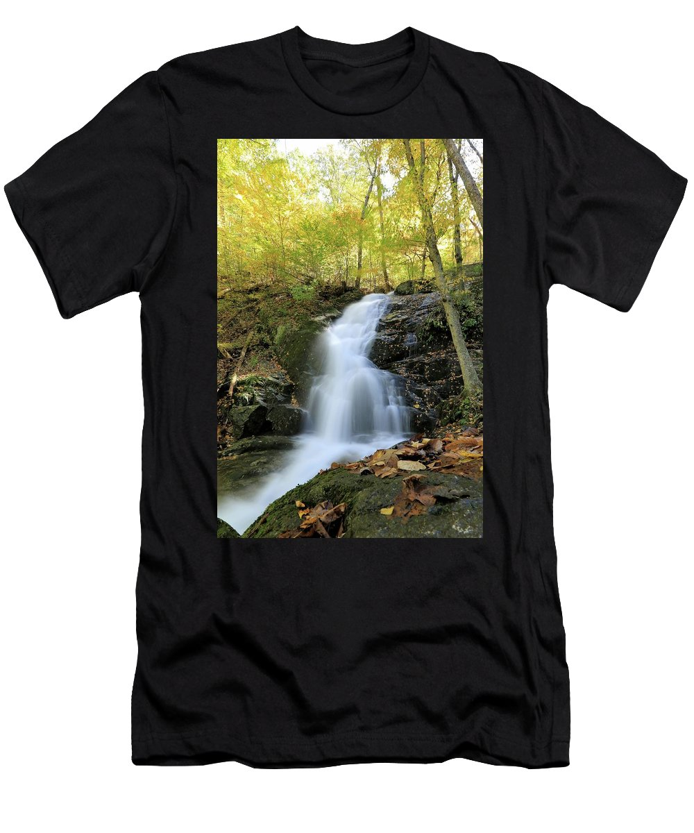 Photosbymch Men's T-Shirt (Athletic Fit) featuring the photograph Crabtree Falls In The Fall by M C Hood