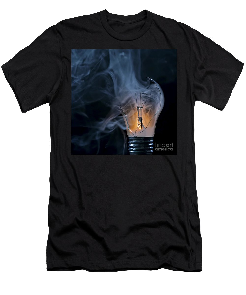 Bulb Men's T-Shirt (Athletic Fit) featuring the photograph Cracked Bulb by Michal Boubin