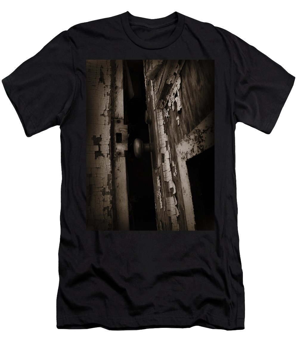 Door Men's T-Shirt (Athletic Fit) featuring the photograph Cracked by Jessica Brawley