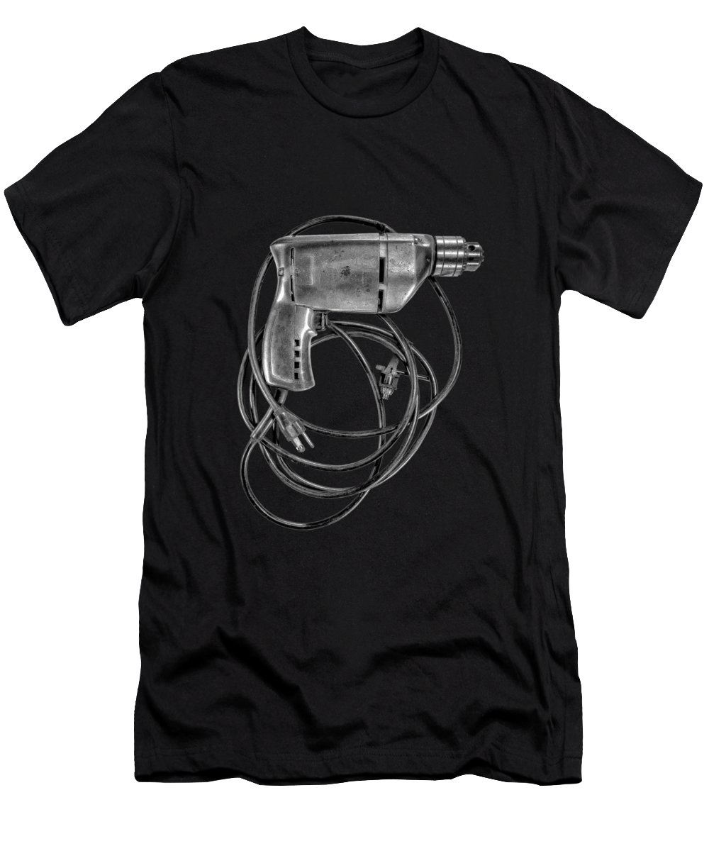 Antique Men's T-Shirt (Athletic Fit) featuring the photograph Craftsman Drill Motor Bs Bw by YoPedro