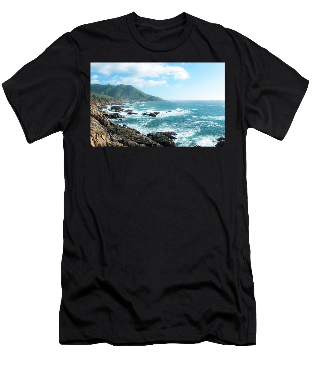 Big Sur Men's T-Shirt (Athletic Fit) featuring the photograph Crashing Coast by Eric Belleville