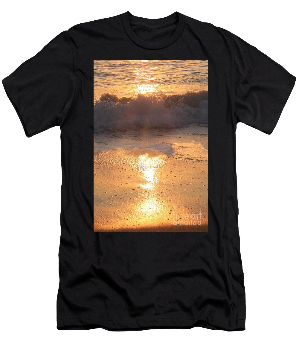 Waves Men's T-Shirt (Athletic Fit) featuring the photograph Crashing Wave At Sunrise by Nadine Rippelmeyer