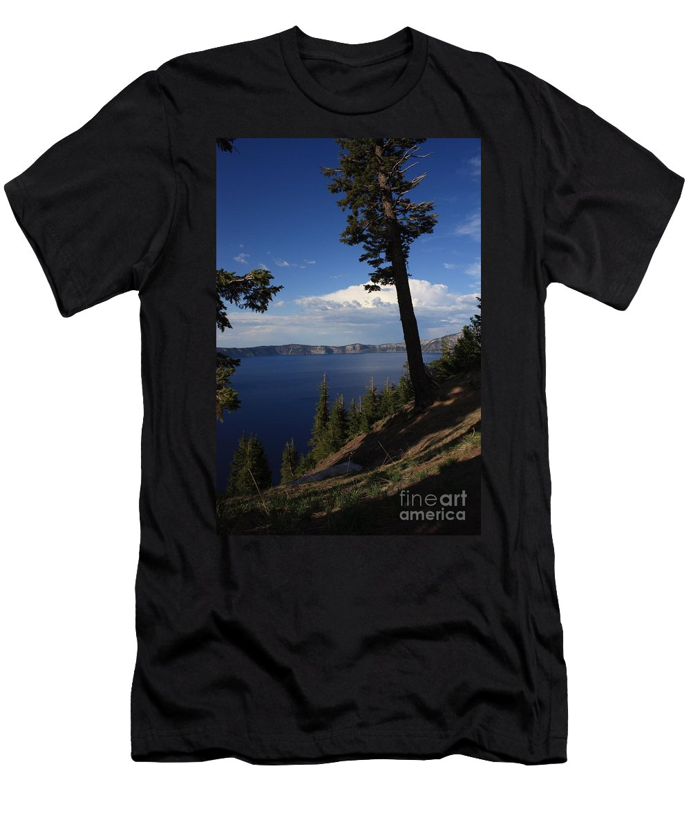 Landscape Men's T-Shirt (Athletic Fit) featuring the photograph Crater Lake 7 by Carol Groenen