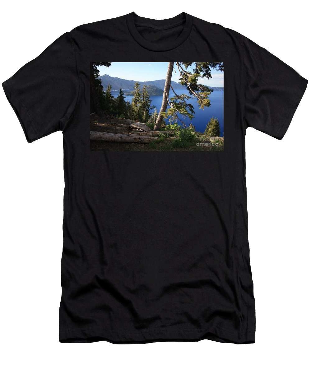 Crater Lake Men's T-Shirt (Athletic Fit) featuring the photograph Crater Lake 9 by Carol Groenen