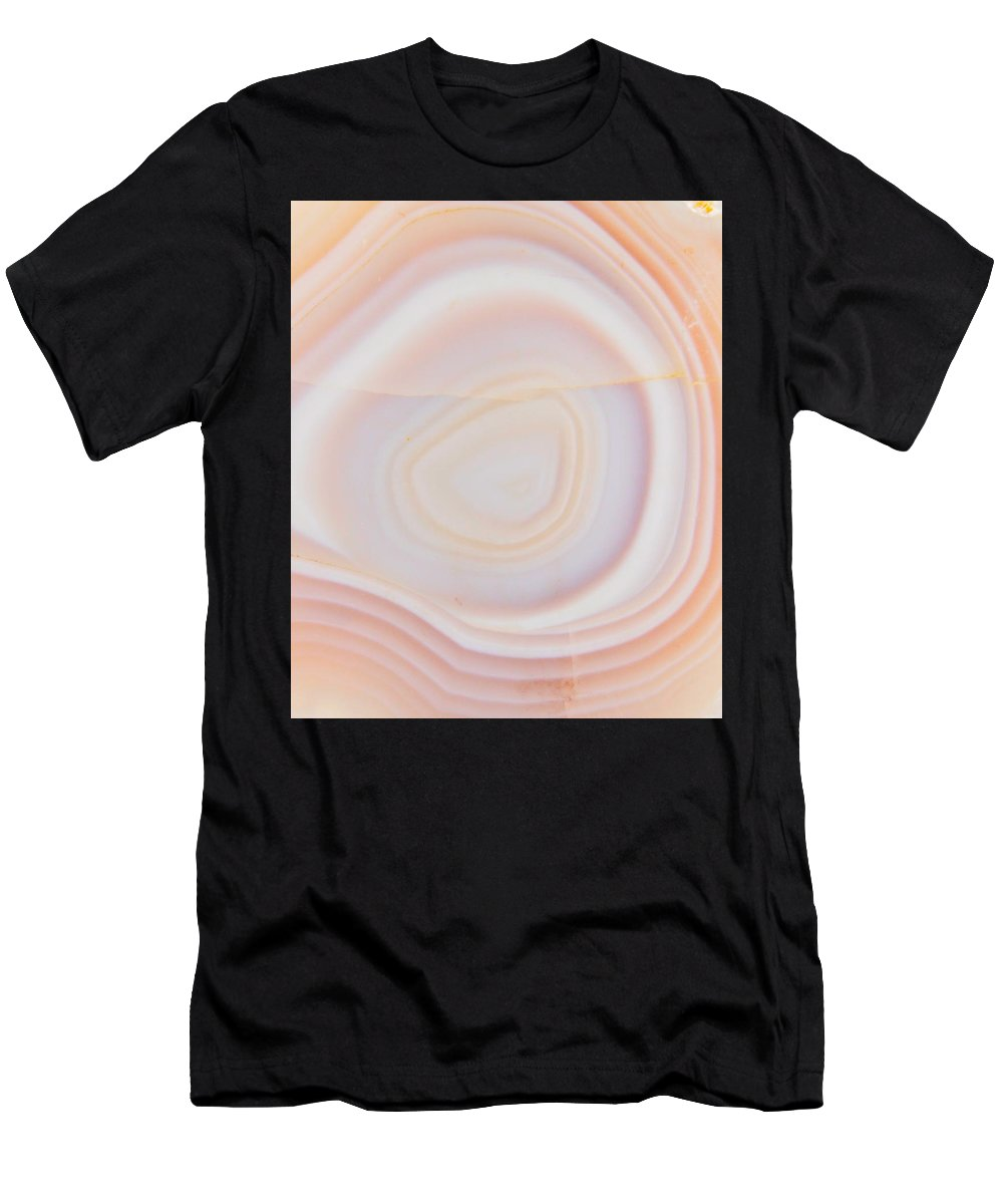 Cream & Pale Yellow Striped Agate Slice Men's T-Shirt (Athletic Fit) featuring the photograph Cream Agate by The Quarry