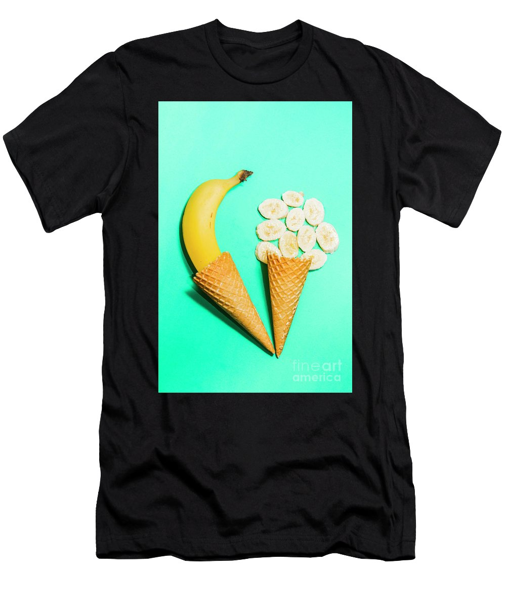 Creative Men's T-Shirt (Athletic Fit) featuring the photograph Creative Banana Ice-cream Still Life Art by Jorgo Photography - Wall Art Gallery