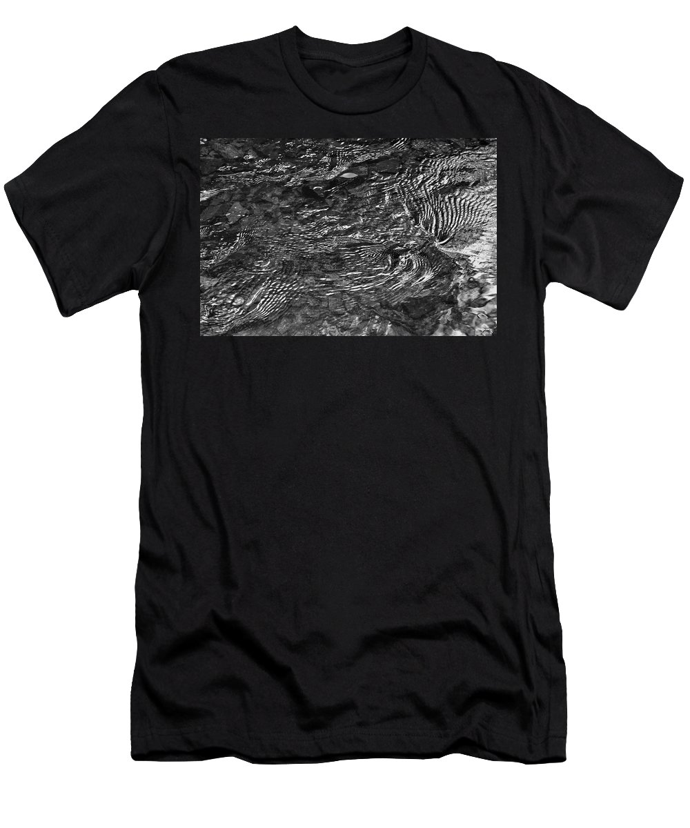 Creek Men's T-Shirt (Athletic Fit) featuring the photograph Creek Ripples B And W by Thomas Fields