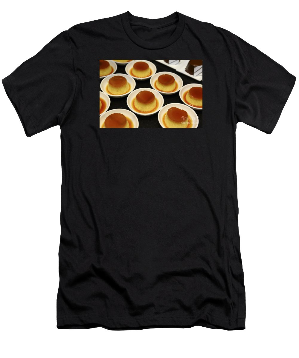 Cr�me Caramel Men's T-Shirt (Athletic Fit) featuring the photograph Creme Caramel Dessert by Oren Shalev