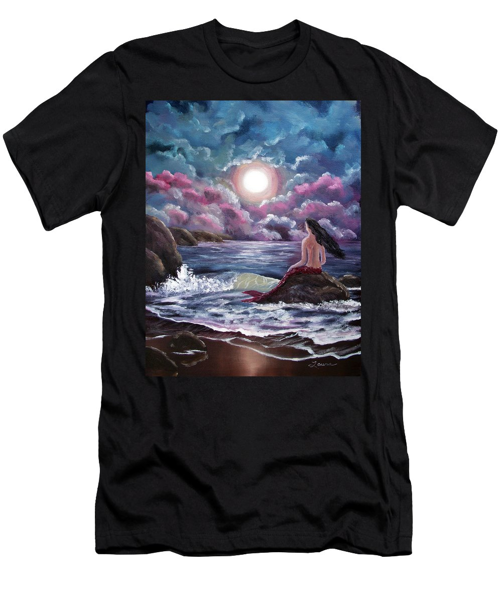 Moon Men's T-Shirt (Athletic Fit) featuring the painting Crimson Mermaid by Laura Iverson