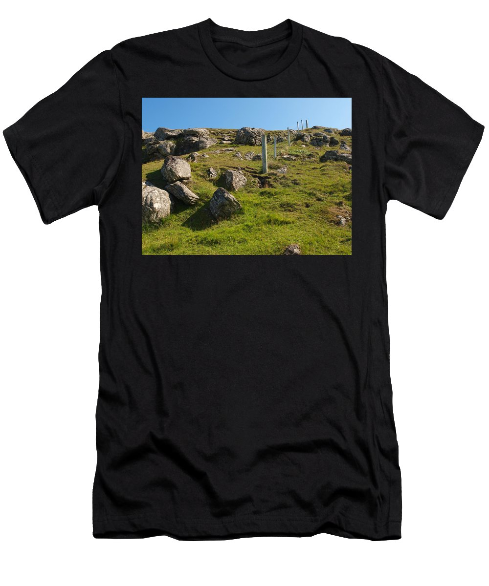 Fence Men's T-Shirt (Athletic Fit) featuring the photograph Crofters Fence by Michaela Perryman