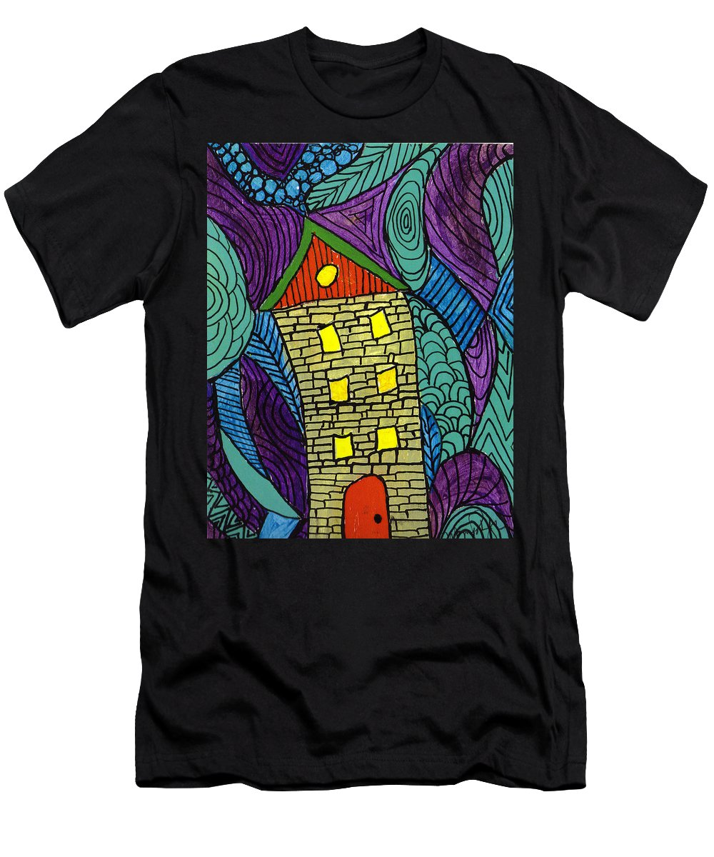 House Men's T-Shirt (Athletic Fit) featuring the painting Crooked Yellow Brick House by Wayne Potrafka