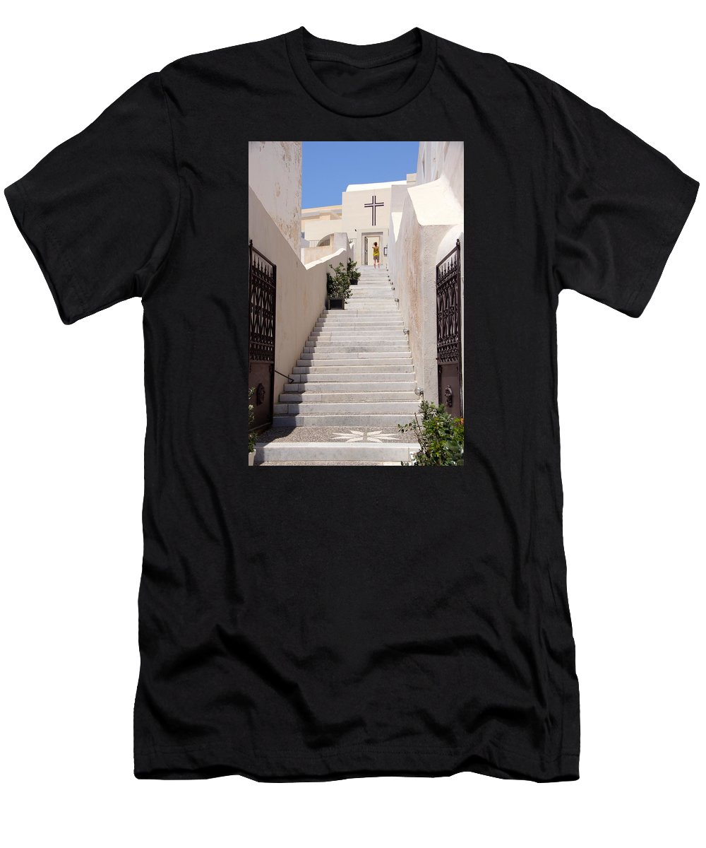 Cross Men's T-Shirt (Athletic Fit) featuring the photograph Steps To Salvation by Ron Koivisto