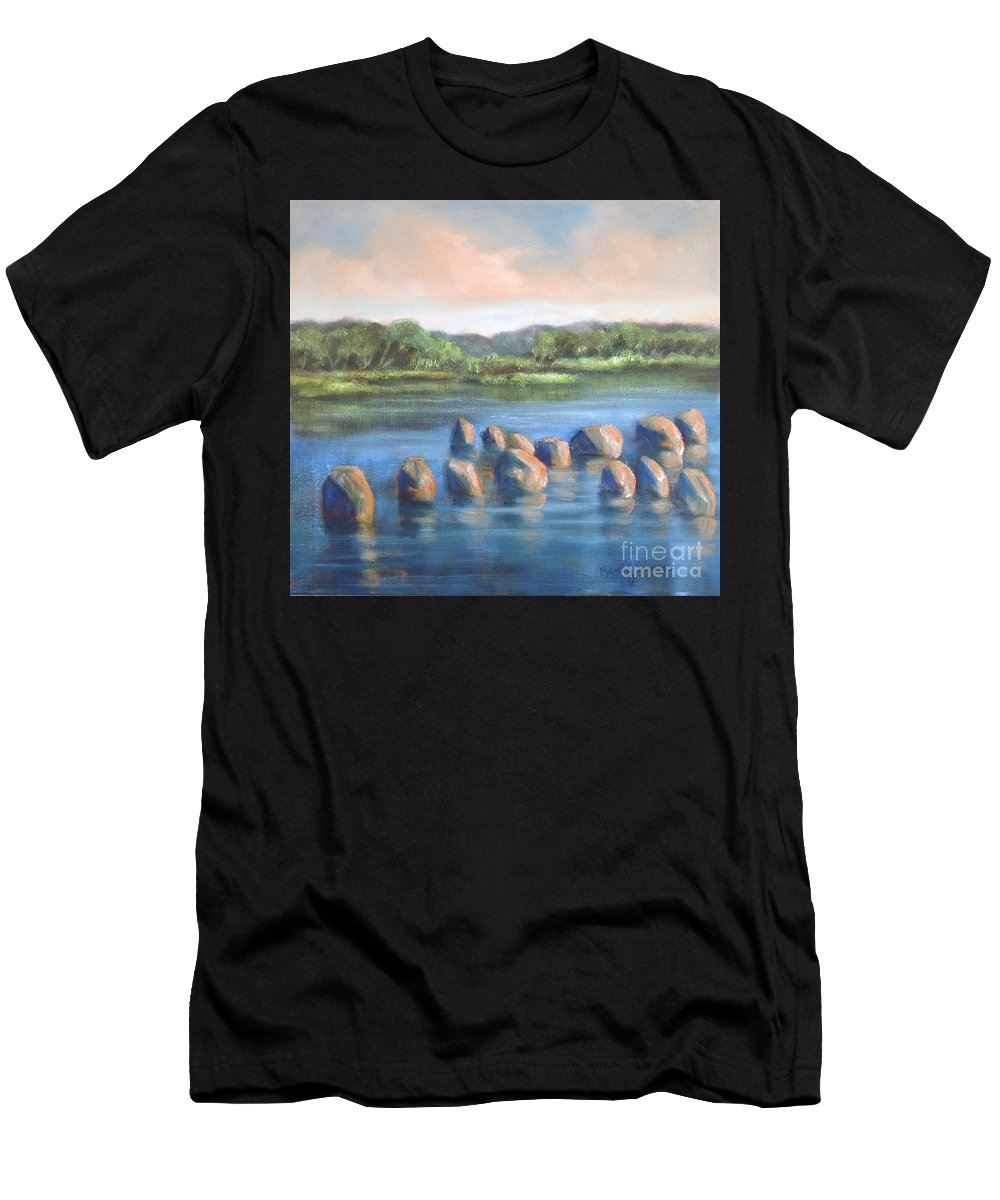 Clear Reflection Men's T-Shirt (Athletic Fit) featuring the painting Cross Of Rocks by Randy Burns