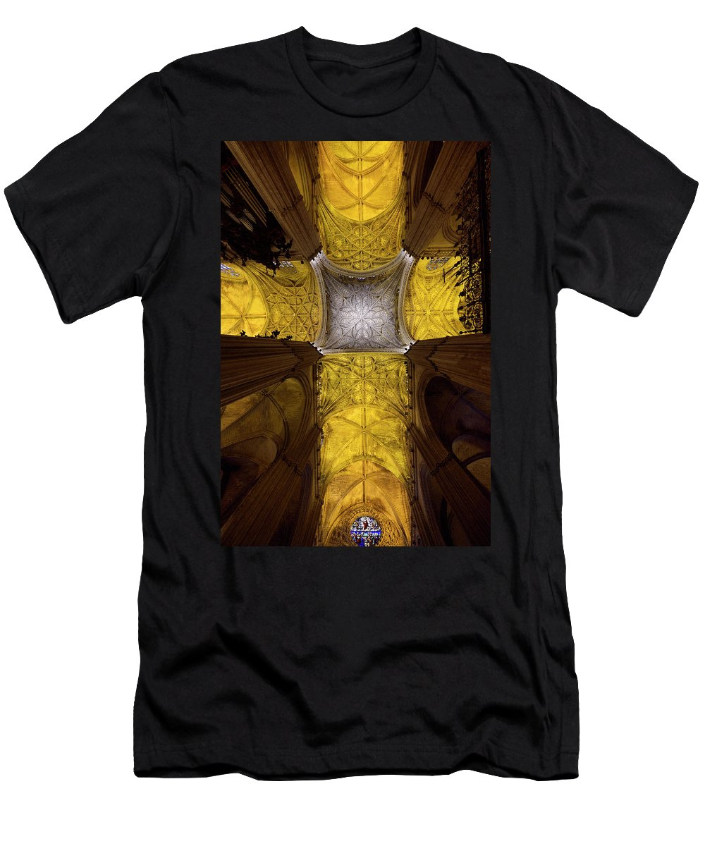 Cross Men's T-Shirt (Athletic Fit) featuring the photograph Cross Shaped Nave Ceiling With Pillars And Stained Glass Windows by Reimar Gaertner