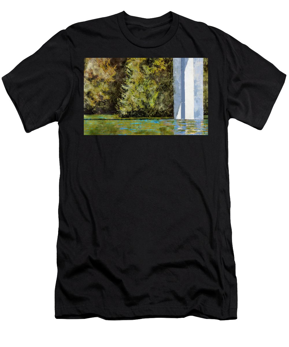 Aquatic Landscape Men's T-Shirt (Athletic Fit) featuring the painting Crossing Lake Mendocino by Melvin Pierre