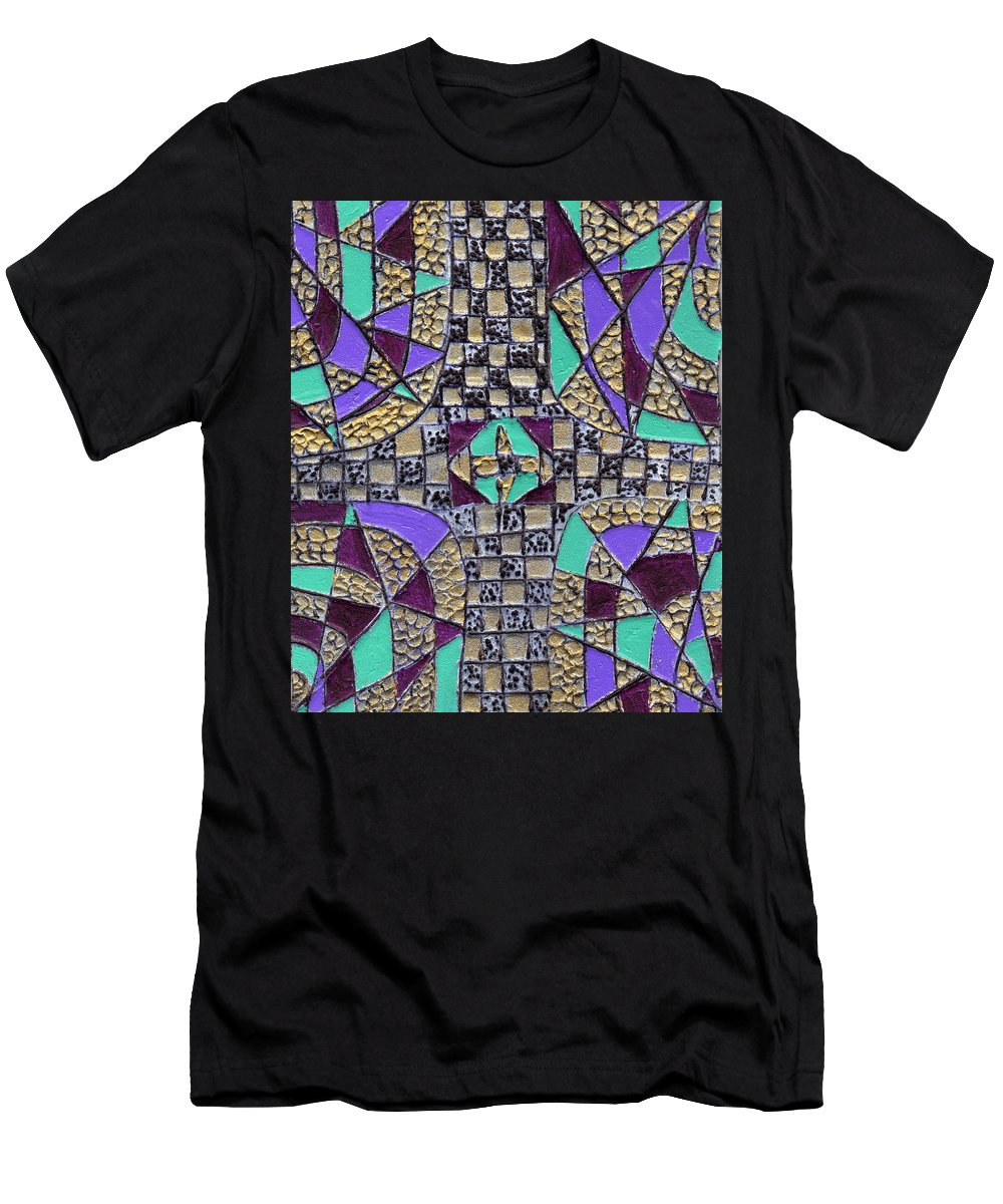 Abstract Men's T-Shirt (Athletic Fit) featuring the painting Crossing Over by Wayne Potrafka