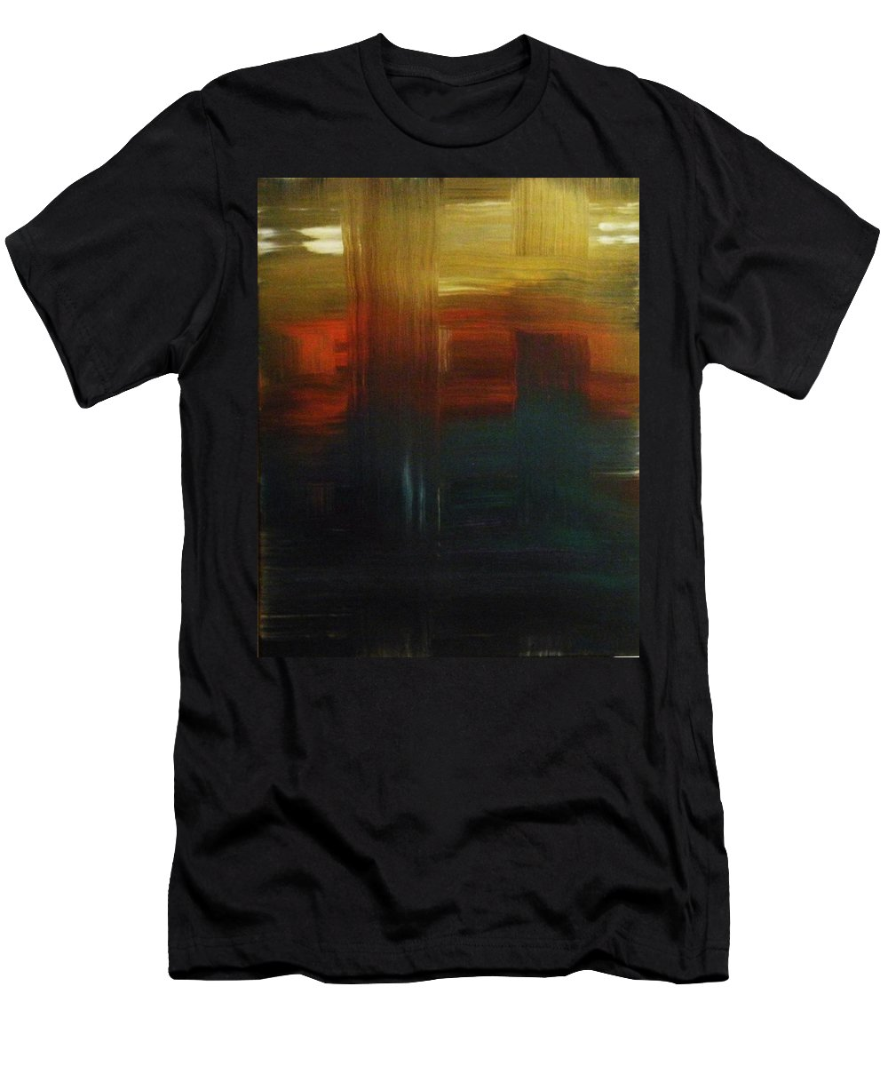 Abstract Men's T-Shirt (Athletic Fit) featuring the painting Crossroads by Todd Hoover