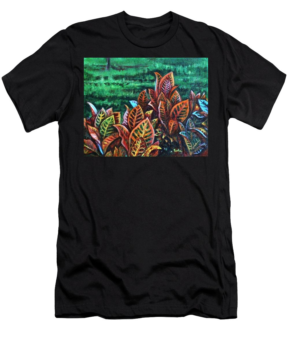 Crotons Men's T-Shirt (Athletic Fit) featuring the painting Crotons 4 by Usha Shantharam