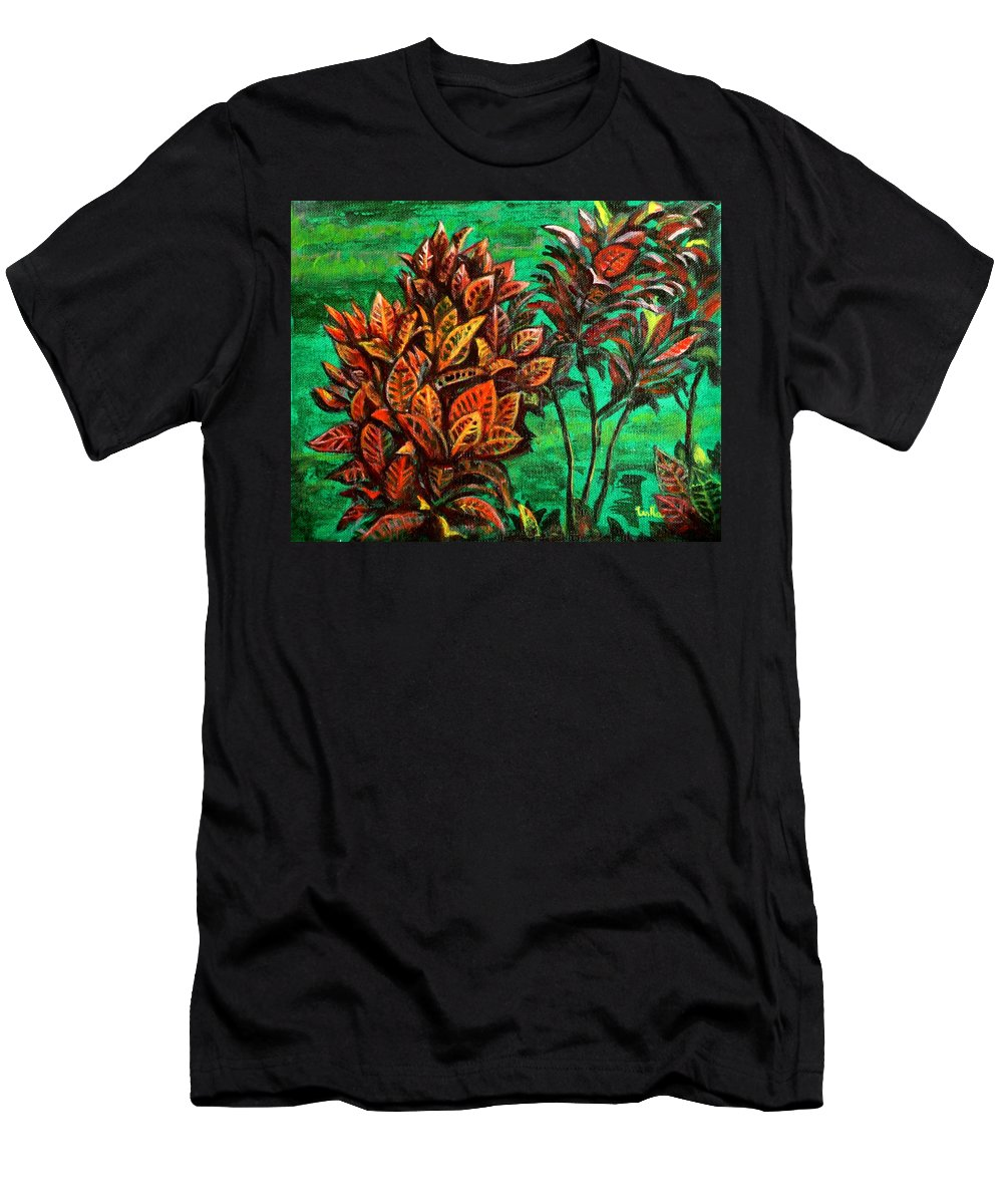Crotons Men's T-Shirt (Athletic Fit) featuring the painting Crotons 5 by Usha Shantharam
