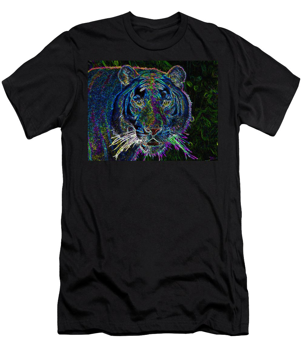 Art Men's T-Shirt (Athletic Fit) featuring the painting Crouching Tiger by David Lee Thompson