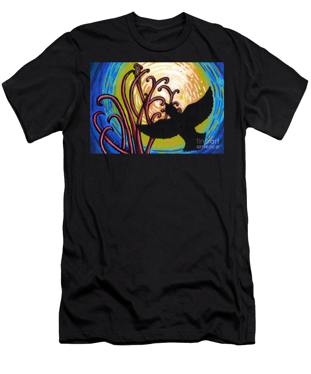 Crow Men's T-Shirt (Athletic Fit) featuring the painting Crow And Full Moon In Winter by Genevieve Esson
