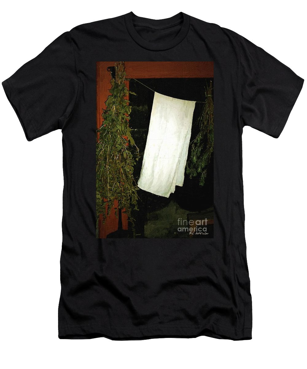 Americana Men's T-Shirt (Athletic Fit) featuring the painting Crowded Hearth by RC DeWinter