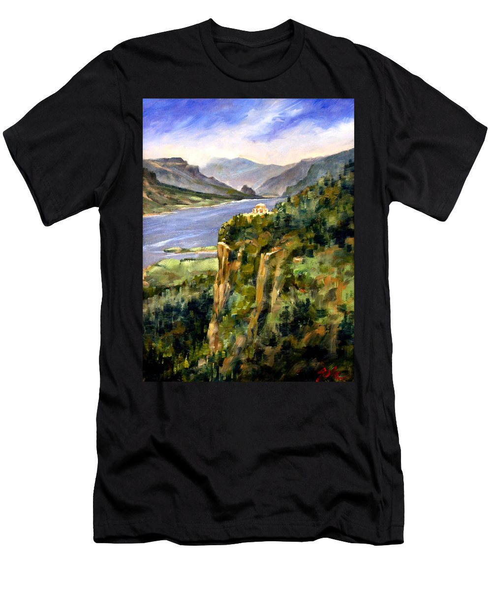 16 X 12 Men's T-Shirt (Athletic Fit) featuring the painting Crown Point Oregon by Jim Gola