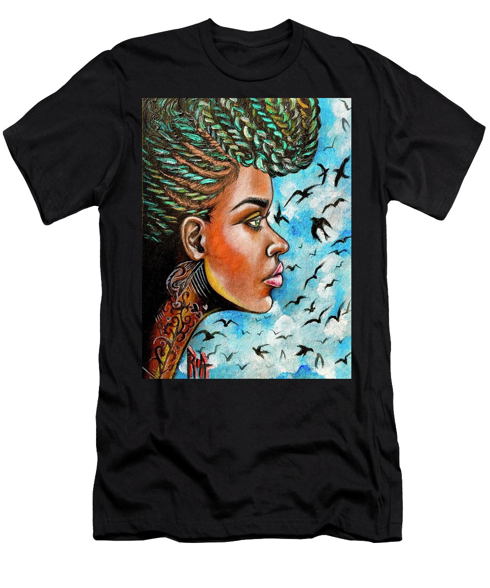 Ria T-Shirt featuring the painting Crowned Royal by Artist RiA