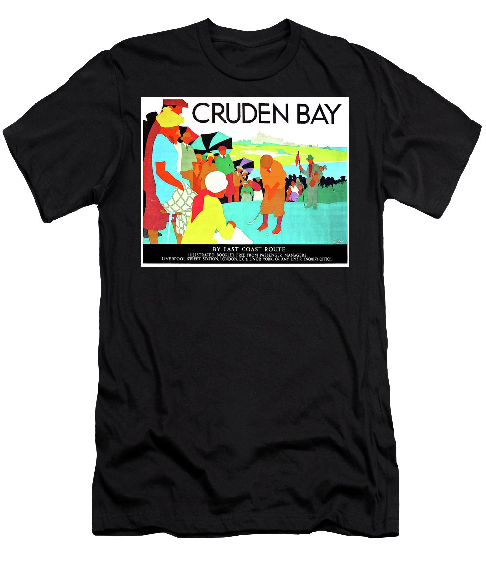 Cruden Bay Men's T-Shirt (Athletic Fit) featuring the painting Cruden Bay, Golf Club, East Coast Route by Long Shot