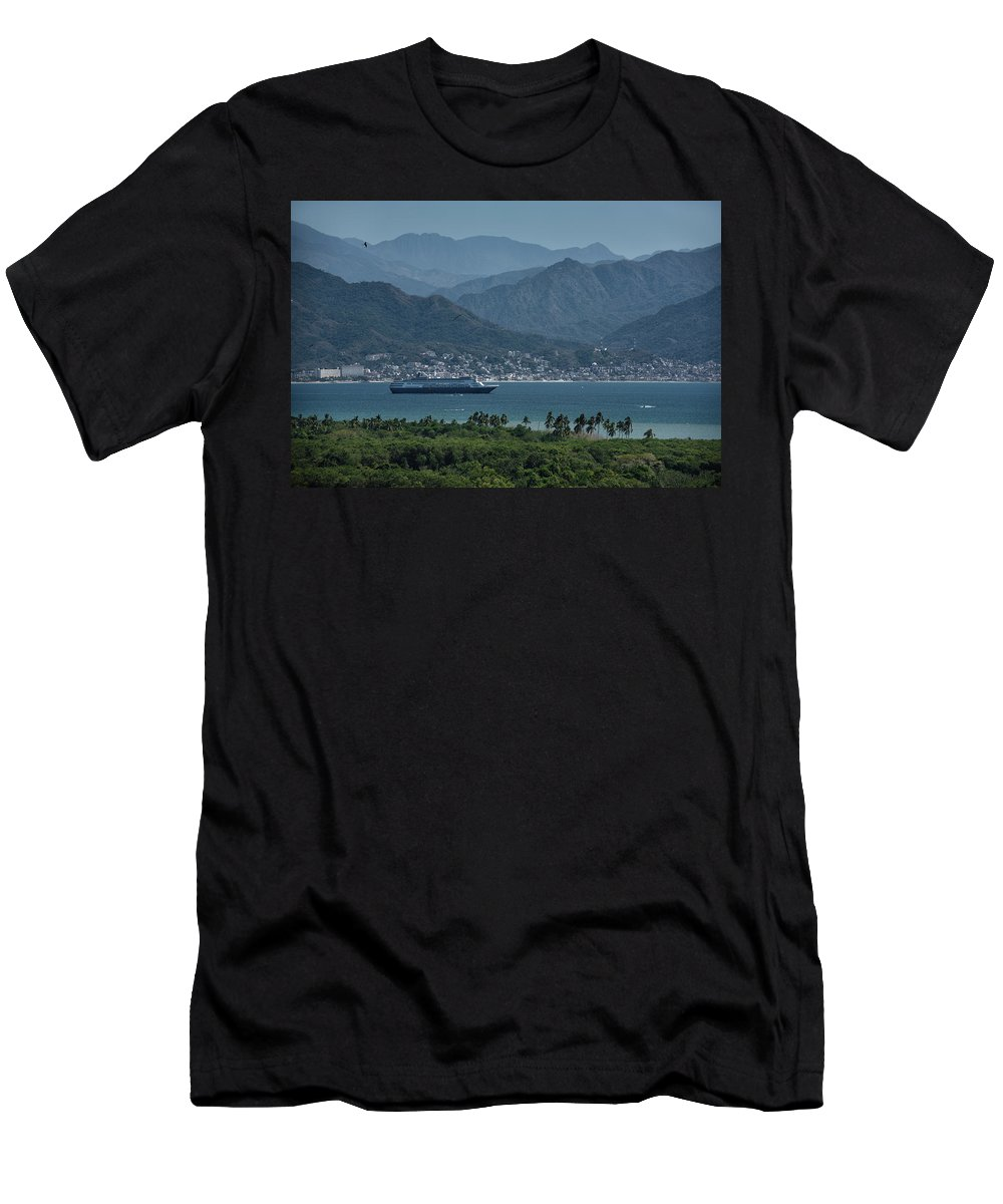 Cruise Men's T-Shirt (Athletic Fit) featuring the photograph Cruise Ship Leaving Banderas Bay Puerto Vallarta Mexico With Sie by Reimar Gaertner