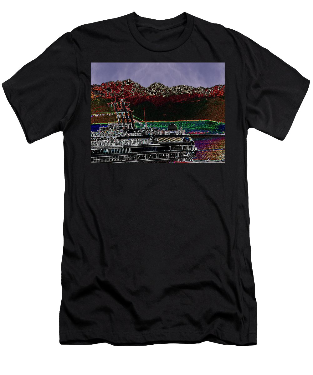 Seattle Men's T-Shirt (Athletic Fit) featuring the digital art Cruising Puget Sound by Tim Allen