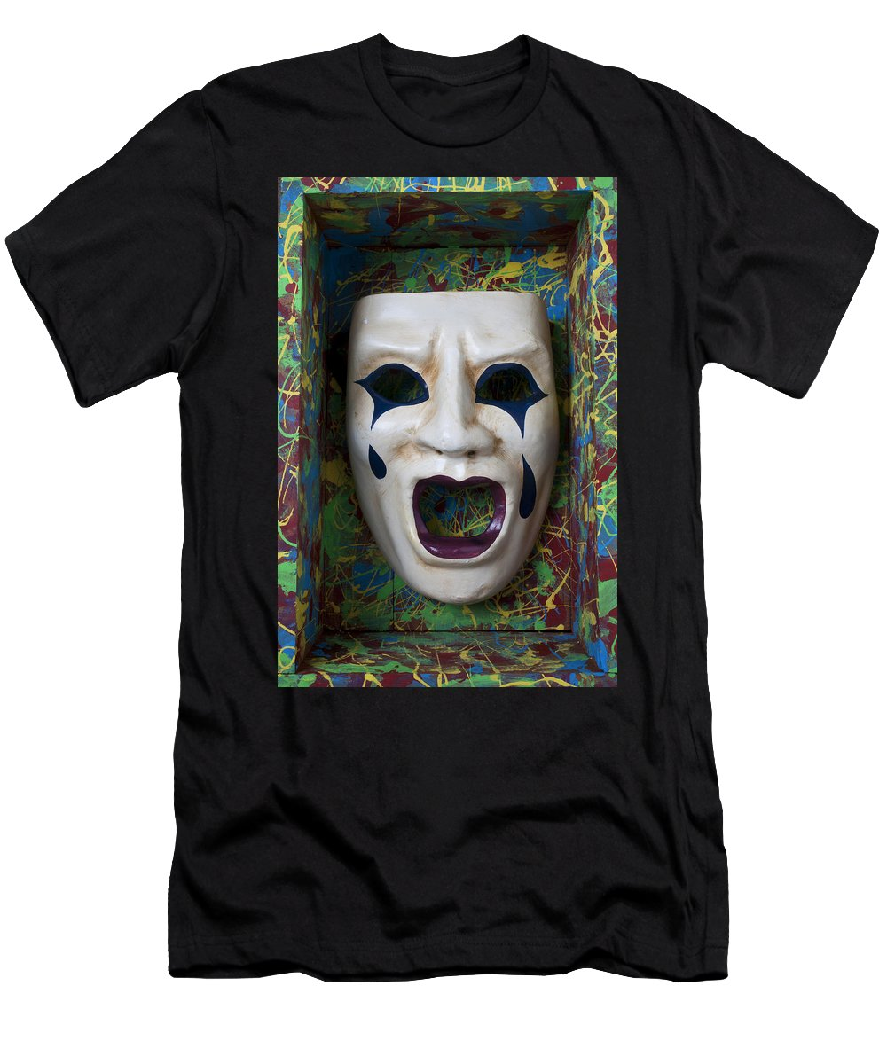 Crying Men's T-Shirt (Athletic Fit) featuring the photograph Crying Mask In Box by Garry Gay
