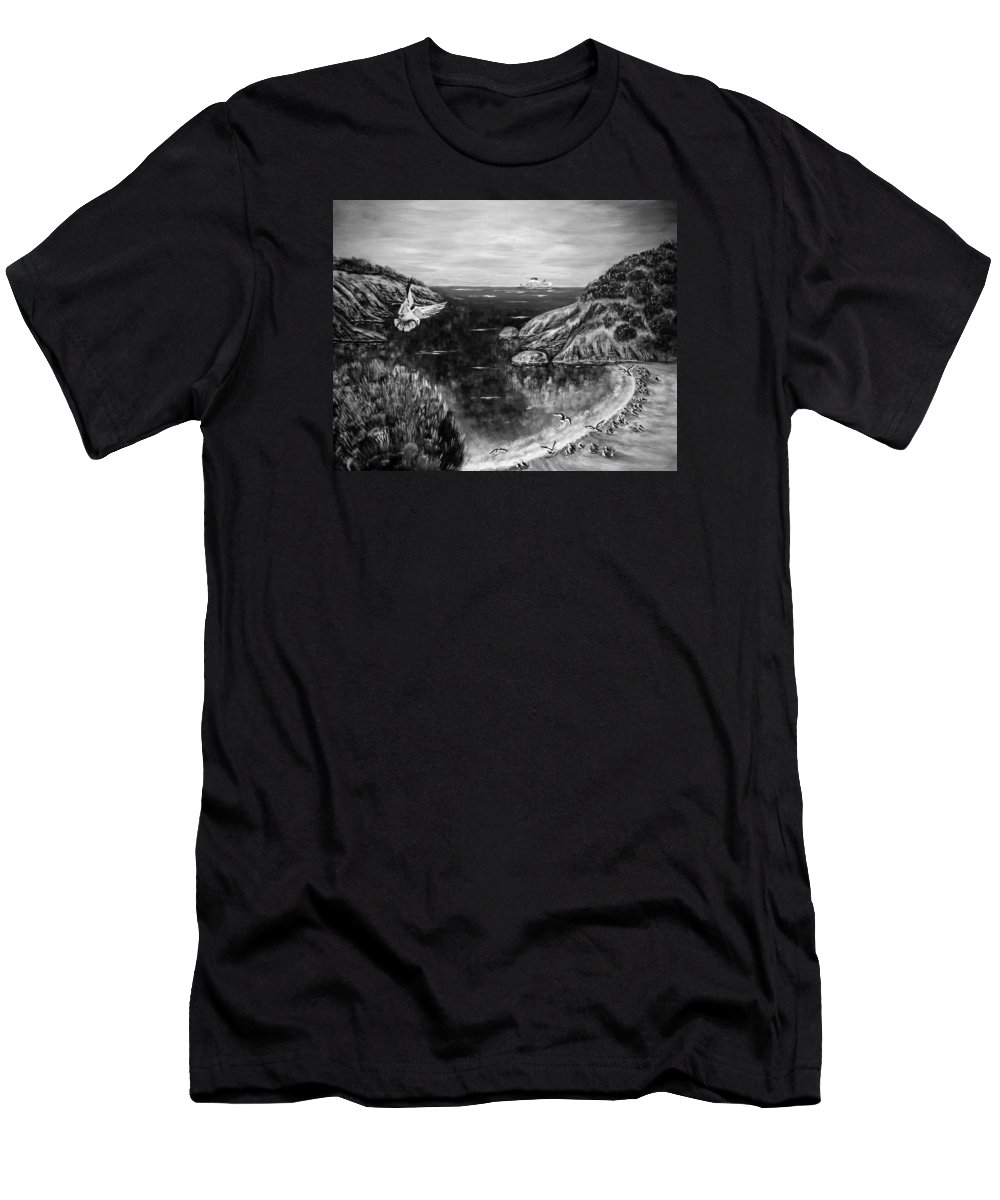 Amazing Print Men's T-Shirt (Athletic Fit) featuring the digital art Crying Seagull Black And White by Katreen Queen