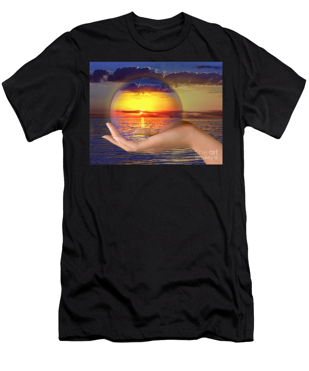 Ocean Men's T-Shirt (Athletic Fit) featuring the mixed media Crystal Ball by Edelberto Cabrera