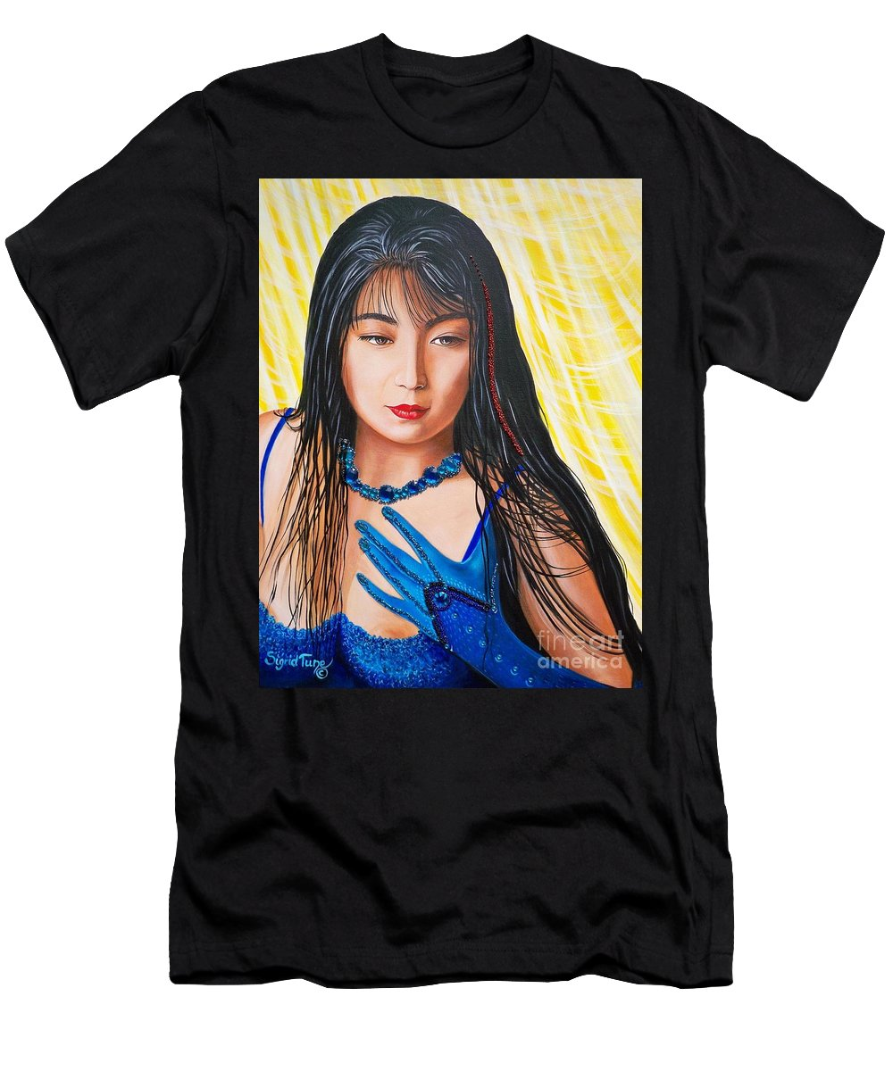 Chinese Girl Men's T-Shirt (Athletic Fit) featuring the mixed media   Crystal Blue China Girl      From  The Attitude Girls by Sigrid Tune