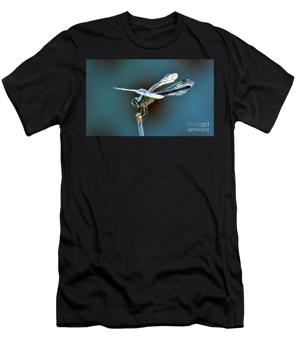 Dragonfly Men's T-Shirt (Athletic Fit) featuring the photograph Crystal Wings by Marcia Breznay