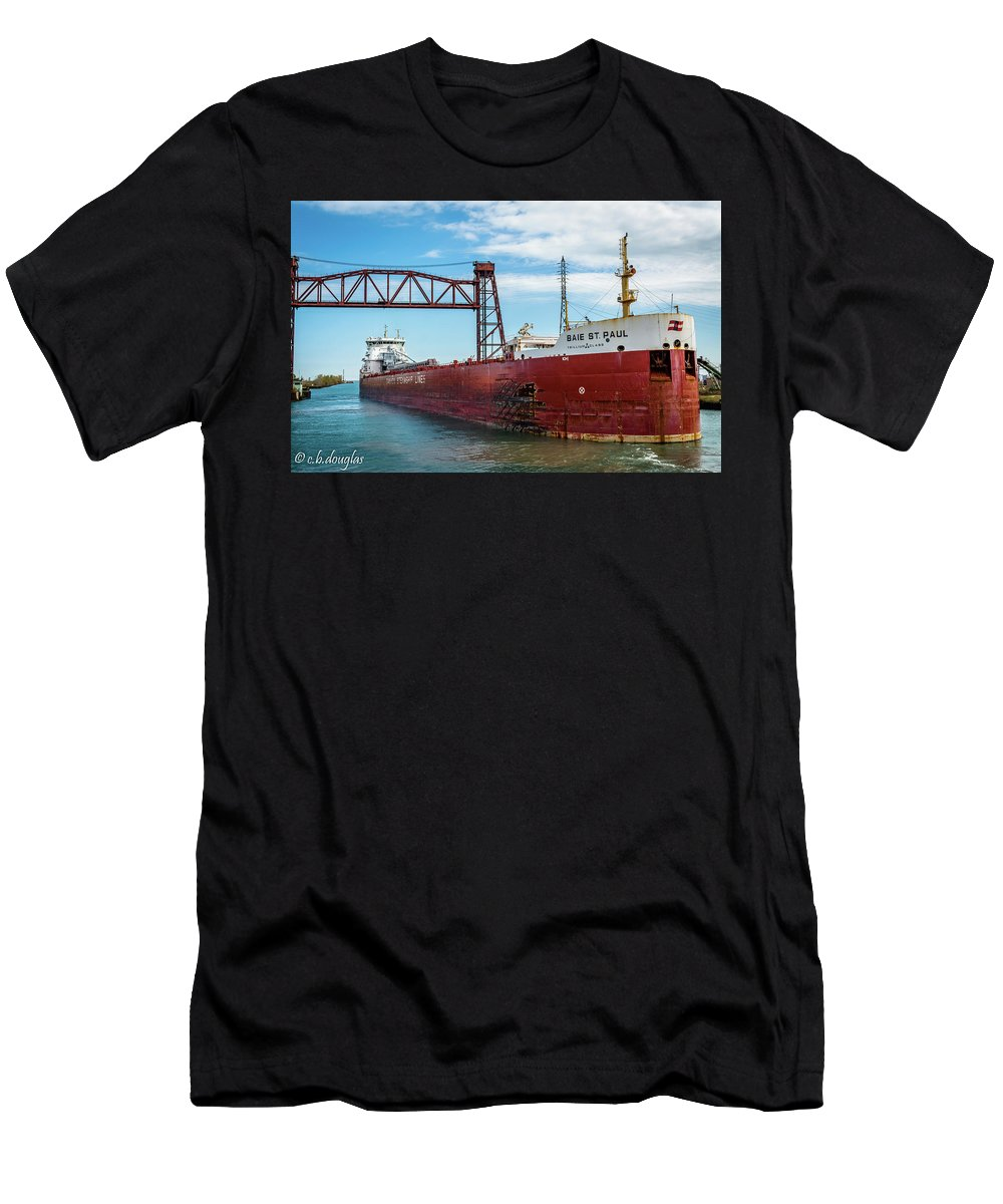Canada Steamship Lines Men's T-Shirt (Athletic Fit) featuring the photograph Csl Baie St. Paul by Christine Douglas