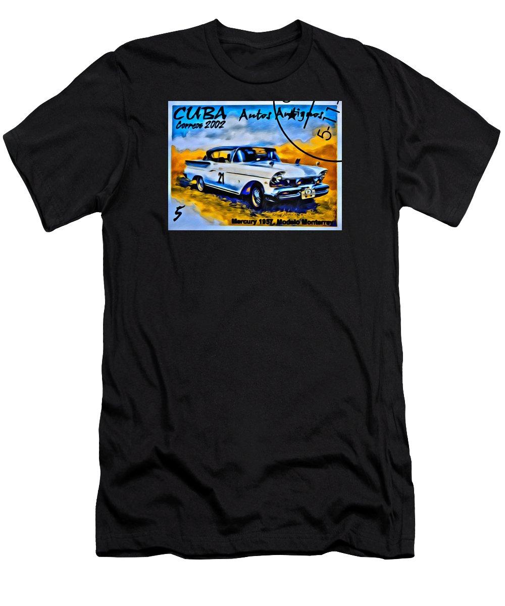 Car Men's T-Shirt (Athletic Fit) featuring the photograph Cuba Antique Auto 1957 Mercury Monterrey by Modern Art