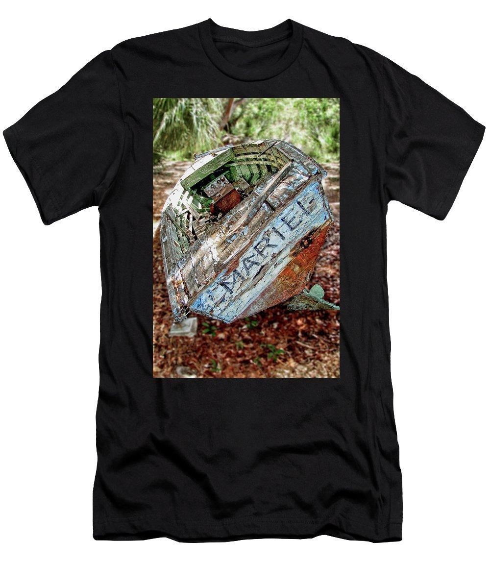 Mariel Men's T-Shirt (Athletic Fit) featuring the photograph Cuban Refugee Boat 3 The Mariel by Bob Slitzan
