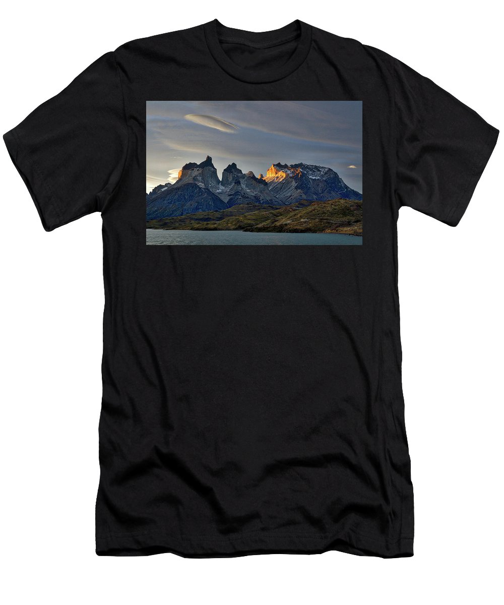 Patagonia Men's T-Shirt (Athletic Fit) featuring the photograph Cuernos Sunset Begins #4 - Patagonia by Stuart Litoff
