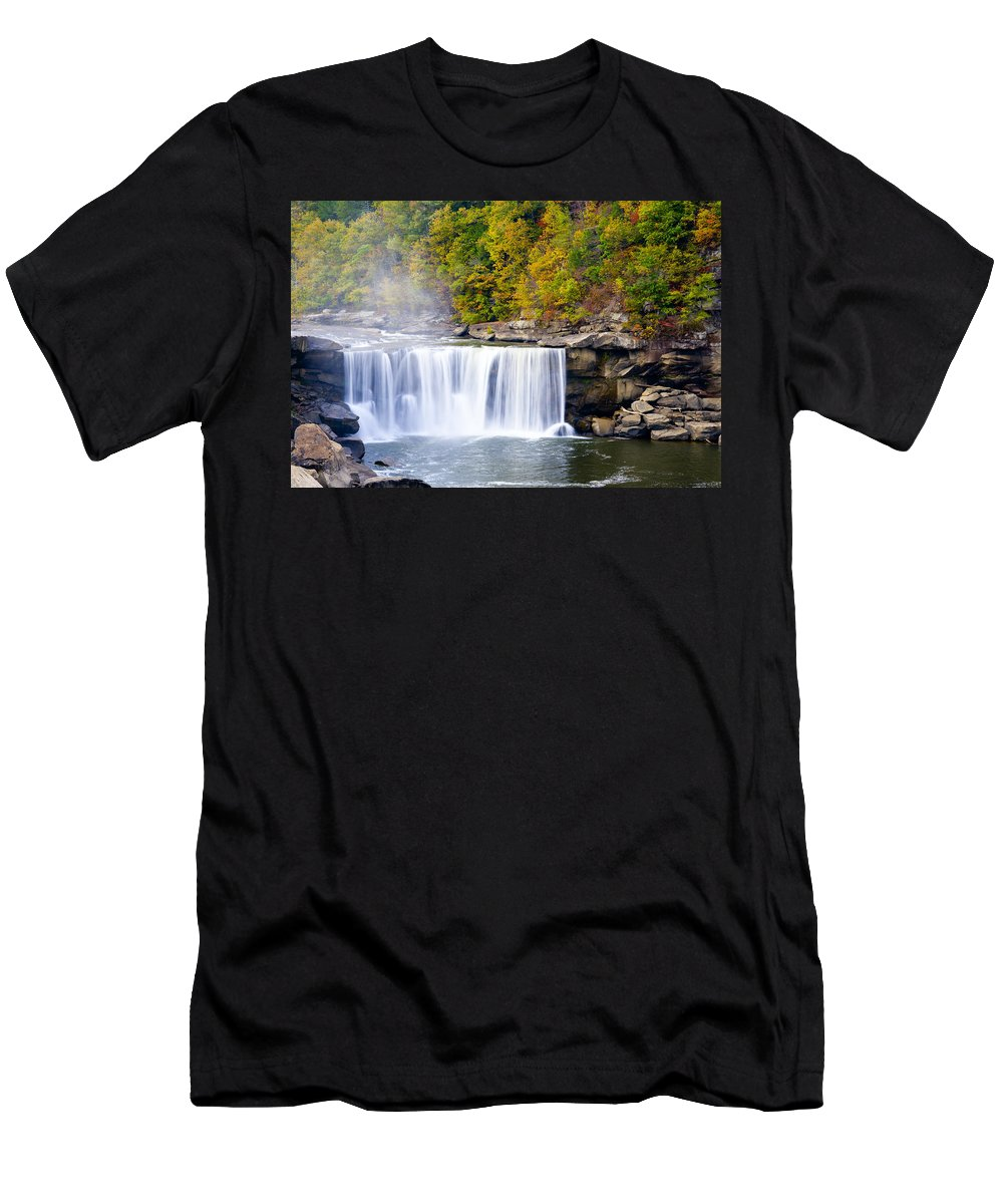 Waterfall Men's T-Shirt (Athletic Fit) featuring the photograph Cumberland Falls by Alexey Stiop