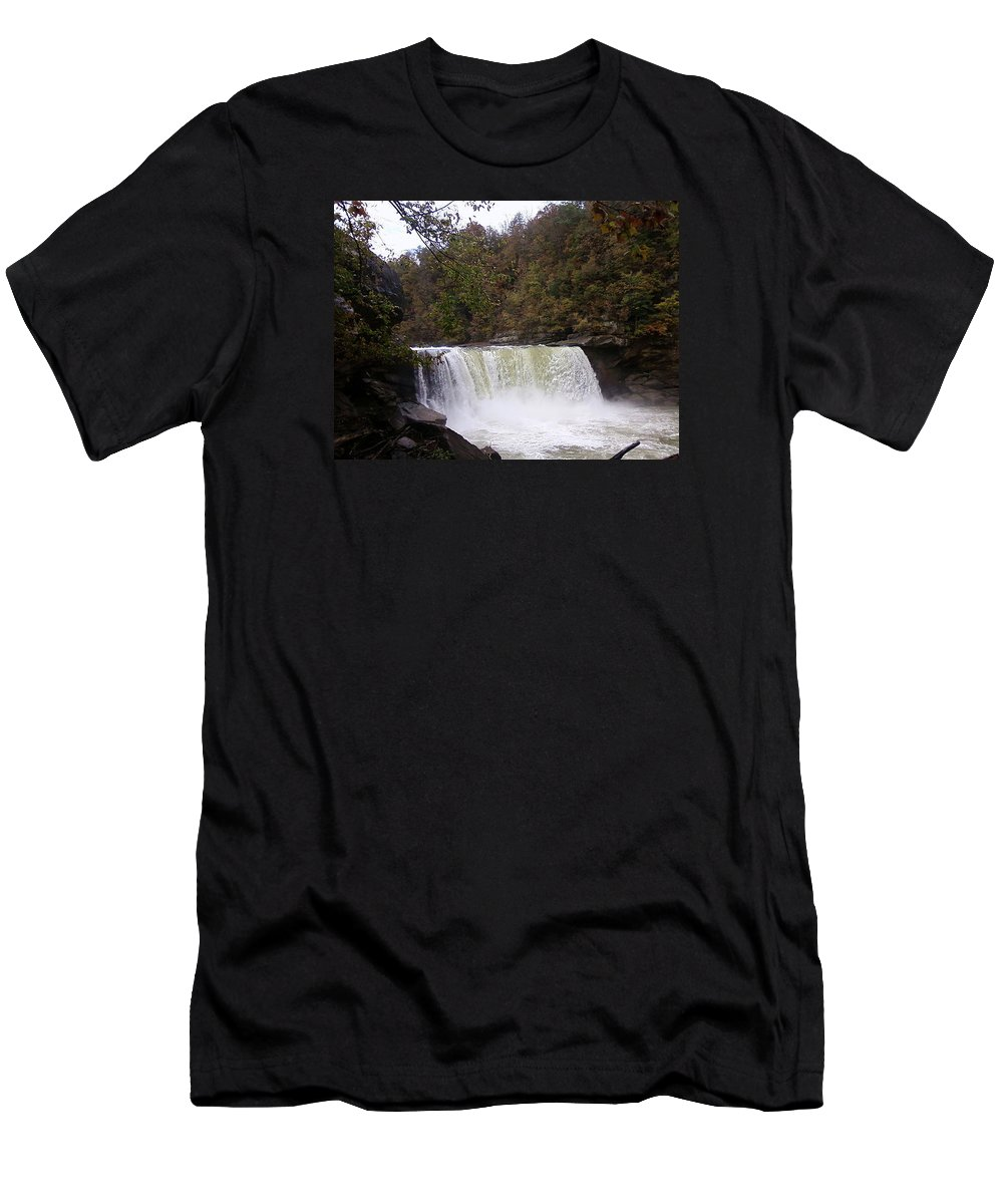 Pat Turner Men's T-Shirt (Athletic Fit) featuring the photograph Cumberland Falls by Pat Turner
