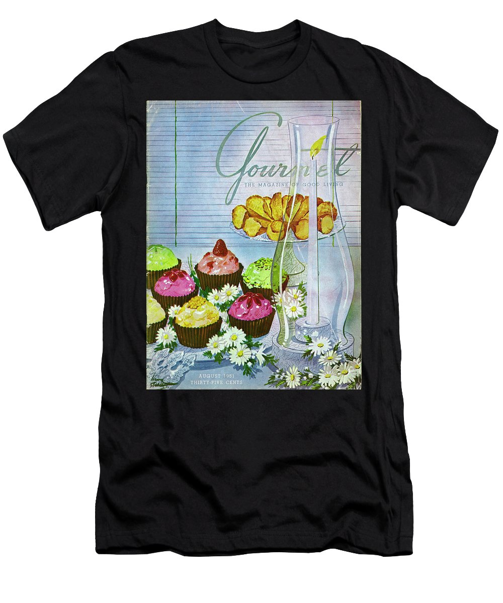 Illustration Men's T-Shirt (Athletic Fit) featuring the photograph Cupcakes And Gaufrettes Beside A Candle by Henry Stahlhut