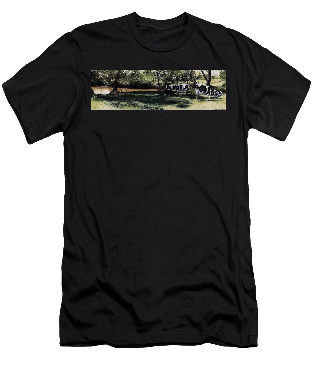 Watercolor Men's T-Shirt (Athletic Fit) featuring the painting Curious Stare by Denny Bond